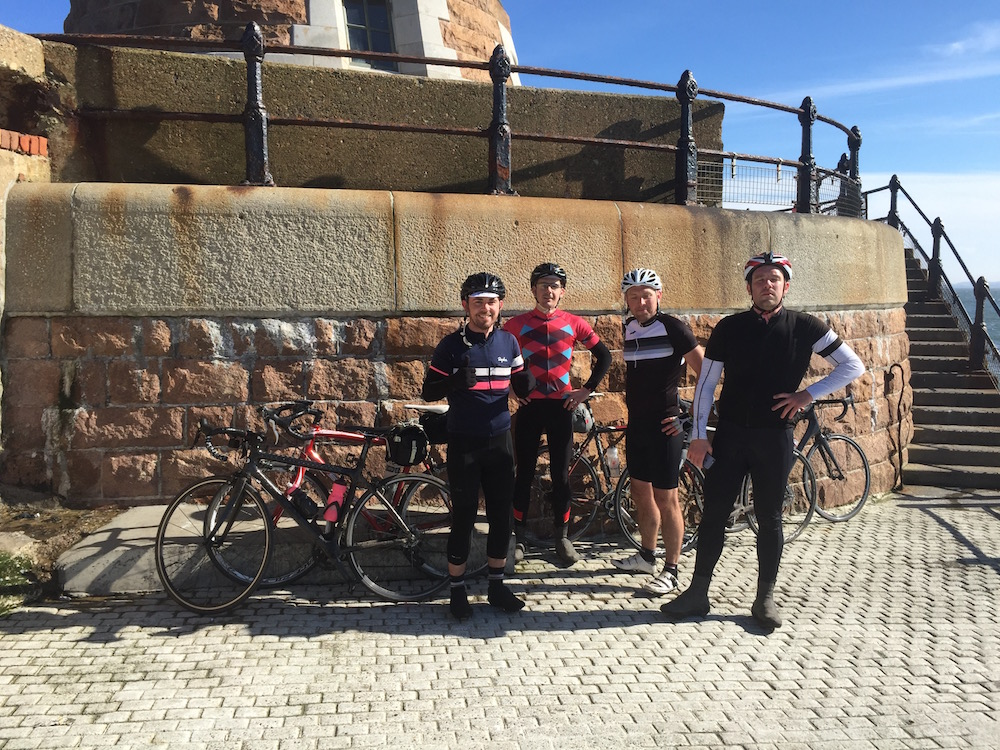 The team on the pier out into the North Sea in Sunderland - Day 2 on the C2C ride from Whitehaven to Sunderland
